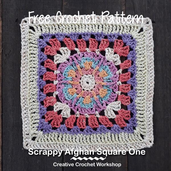 Scrappy Afghan Square 2018 Number One - Free Crochet Pattern | Creative Crochet Workshop @creativecrochetworkshop #freecrochetpattern #grannysquare #afghansquare #crochetalong #ccwcrochetablock2018