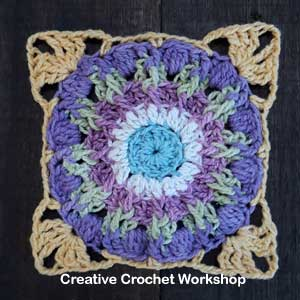 Scrappy Afghan Square 2018 Number Five - Free Crochet Pattern | Creative Crochet Workshop @creativecrochetworkshop #freecrochetpattern #grannysquare #afghansquare #crochetalong #ccwcrochetablock2018