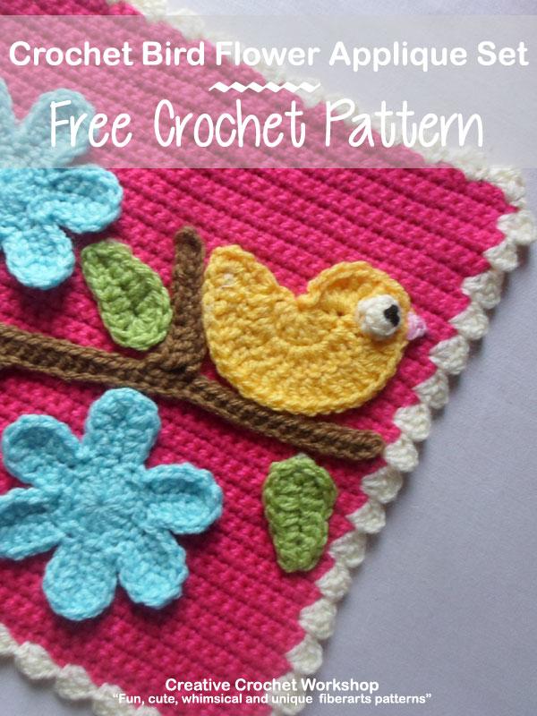 Crochet Bird Flower Applique Set Creative Crochet Workshop