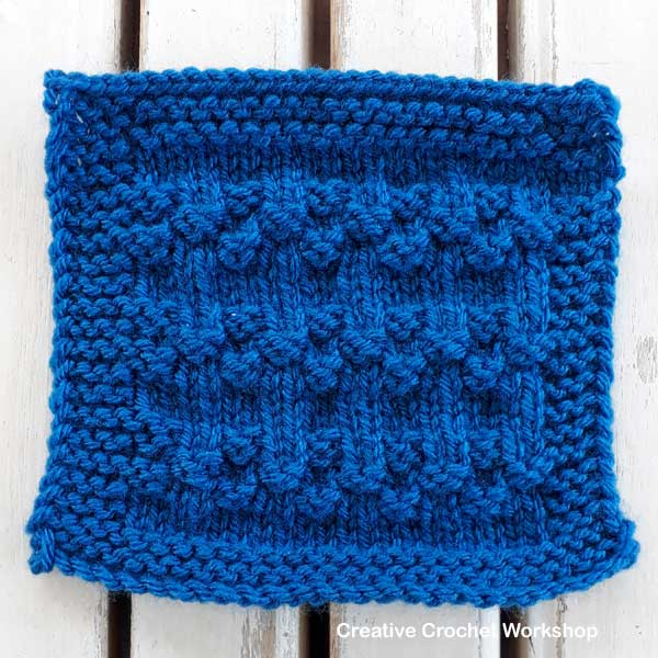 Wavy Bobbles Knit Square - Free Knitting Pattern | Creative Crochet Workshop #KALCorner