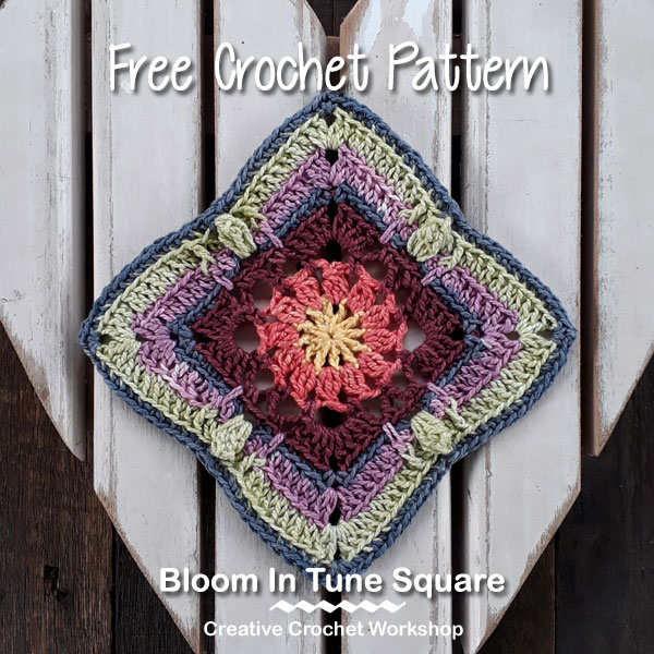 Bloom In Tune Square - Free Crochet Pattern | Creative Crochet Workshop #freecrochetpattern #crochet #crochetsquare