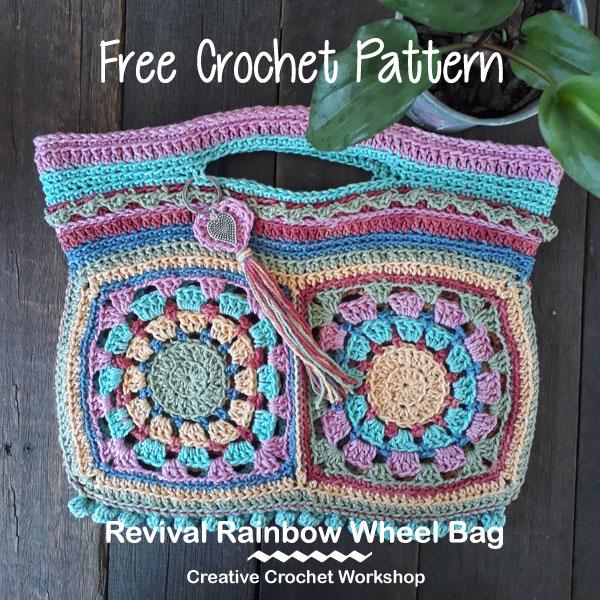 Revival Rainbow Wheel Bag | Creative Crochet Workshop #freecrochetpattern #crochet