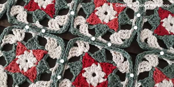 Yuletide Star Square Table Runner- Free Crochet Pattern | Creative Crochet Workshop #freecrochetpattern #crochet #crochetsquare #christmas #holiday