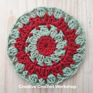 Starry Christmas Doily - Free Crochet Pattern | Creative Crochet Workshop #freecrochetpattern #crochet #crochetsnowflake #crochetflower #christmas #holiday