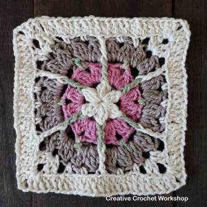 Snuggled Hearts Baby Blanket Tutorial | Creative Crochet Workshop @creativecrochetworkshop #crochetalong #grannysquare #afghansquare #crochetbabyblanket #ccwsnuggledheartsblanket #madewithheart
