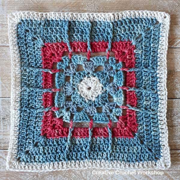 Framed Posted Shells Square - Free Crochet Pattern | Creative Crochet Workshop @creativecrochetworkshop #freecrochetpattern #grannysquare #afghansquare #crochetalong #ccwcrochetablock2019