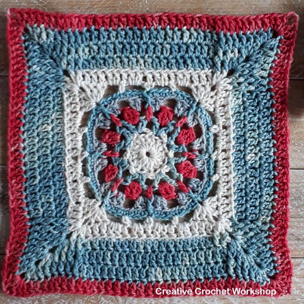 Framed Flower Wheel Square - Free Crochet Pattern | Creative Crochet Workshop @creativecrochetworkshop #freecrochetpattern #grannysquare #afghansquare #crochetalong #ccwcrochetablock2019