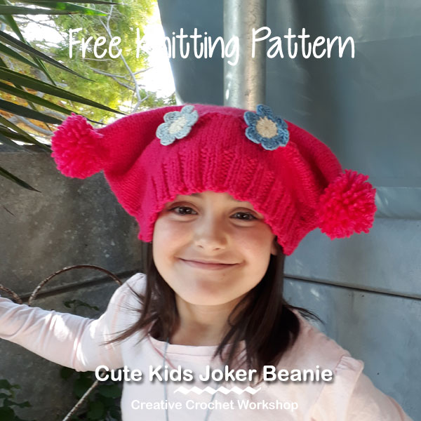 Cute Kids Joker Beanie - Free Knitting Pattern | Creative Crochet Workshop #KALCorner #lionbrand #lionbrandyarn