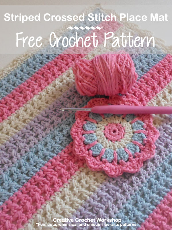 Striped Crossed Stitch Place Mat - Free Crochet Pattern | Creative Crochet Workshop #freecrochetpattern #crochet @creativecrochetworkshop