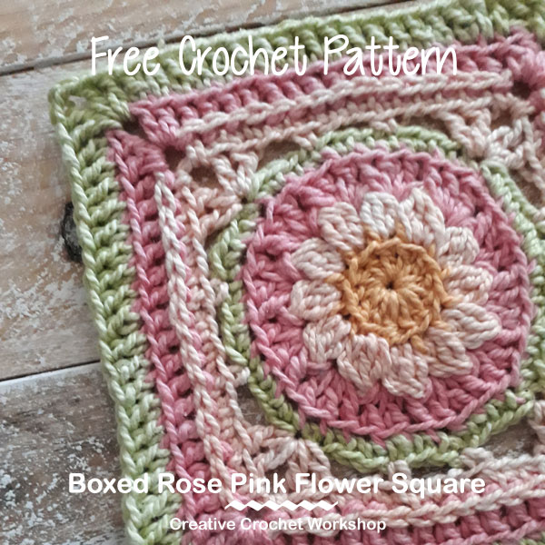 Boxed Rose Pink Violet Flower Square - Free Crochet Pattern | Creative Crochet Workshop #freecrochetpattern #crochet #crochetsquare