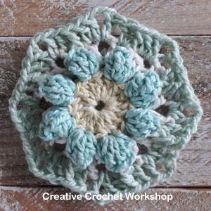 Popcorn 3D Flower Square Free Crochet Pattern | Creative Crochet Workshop @creativecrochetworkshop #freecrochetpattern #grannysquare #afghansquare #crochetalong #ccwscrapsrificrainbowblanket