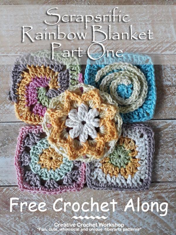 Scrapsrific Rainbow Blanket Part One - Free Crochet Pattern | Creative Crochet Workshop @creativecrochetworkshop #freecrochetpattern #grannysquare #afghansquare #crochetalong #ccwscrapsrificrainbowblanket