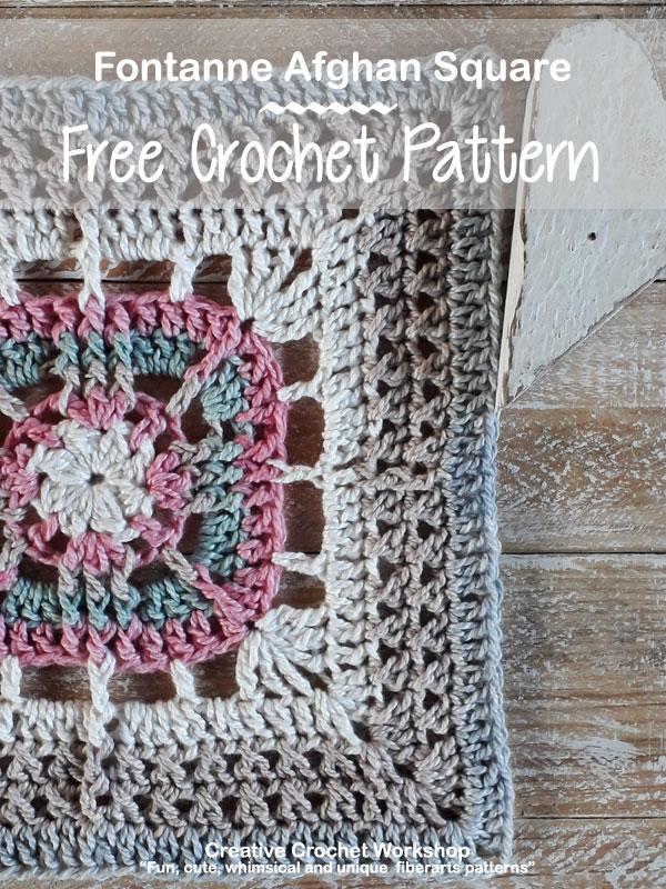 Fontanne Afghan Square - Free Crochet Pattern | Creative Crochet Workshop @creativecrochetworkshop #freecrochetpattern #grannysquare #afghansquare #crochetalong #ccwcrochetablock2019