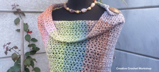 Lacy V-Stitch Shawl - Free Crochet Pattern | Creative Crochet Workshop #freecrochetpattern #crochet @creativecrochetworkshop