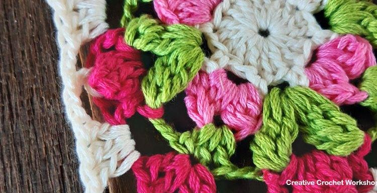 Floret Mini Square   Creative Crochet Workshop #freecrochetpattern #crochetsquare #grannysquareday2019 #crochetgrannysquare