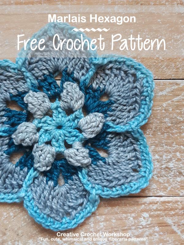 Marlais Hexagon - Free Crochet Pattern   Creative Crochet Workshop #freecrochetpattern #crochet #crochetalong #hexagon @creativecrochetworkshop