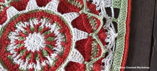 Christmas Sun Square - Free Crochet Pattern | Creative Crochet Workshop #freecrochetpattern #crochet #crochetsquare #Christmascrochet @creativecrochetworkshop