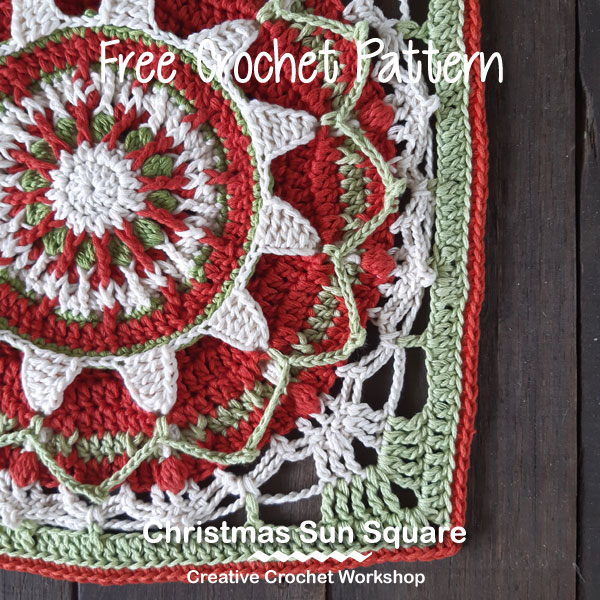Christmas Sun Square - Free Crochet Pattern | Creative Crochet Workshop #freecrochetpattern #crochet #crochetsquare #Christmascrochet @creativecrochetworkshop