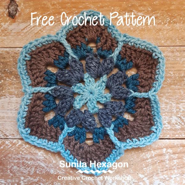 Sunila Hexagon - Free Crochet Pattern | Creative Crochet Workshop #freecrochetpattern #crochet #crochetalong #hexagon @creativecrochetworkshop