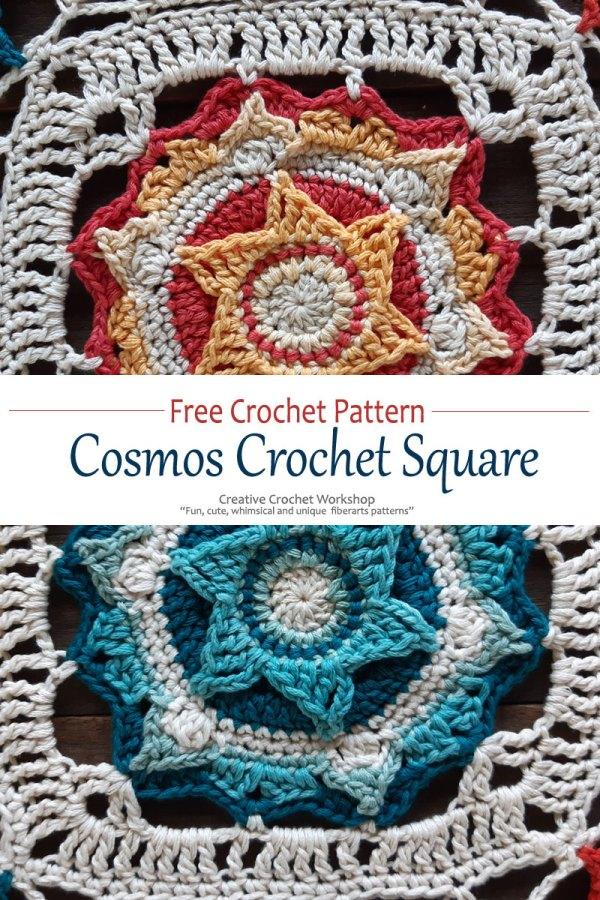 Cosmos Crochet Square - Free Crochet Pattern | Creative Crochet Workshop @creativecrochetworkshop #freecrochetpattern #grannysquare #afghansquare #crochetalong #ccwcassiopeiathrow