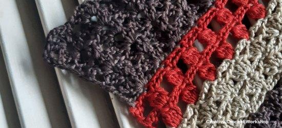 Autumn Velvet Shawl Section Three - Free Crochet Along   Creative Crochet Workshop @creativecrochetworkshop #freecrochetpattern #crochetshawl #crochetwrap #crochetaccessory #crochetalong #ccwautumnvelvetshawl