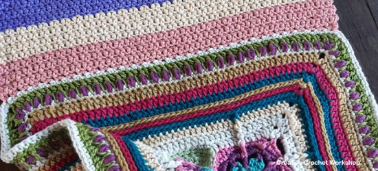Scrapstasy Bohemian Crochet Blanket Section 3 - Free Crochet Pattern | Creative Crochet Workshop #crochetsquare #afghanblock #afghansquare #freecrochetalong #crochet #crochetblanket #stashbuster @creativecrochetworkshop