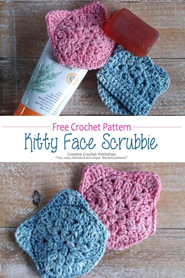 Kitty Crochet Face Scrubbie - Free Crochet Pattern | Creative Crochet Workshop #freecrochetpattern #crochet #crochetscrubbie  #CALCentralCrochet @creativecrochetworkshop