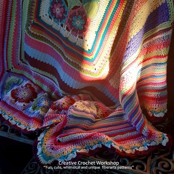 Scrapstasy Bohemian Crochet Blanket Section 9 - Free Crochet Pattern   Creative Crochet Workshop #crochetsquare #afghanblock #afghansquare #freecrochetalong #crochet #crochetblanket #stashbuster @creativecrochetworkshop