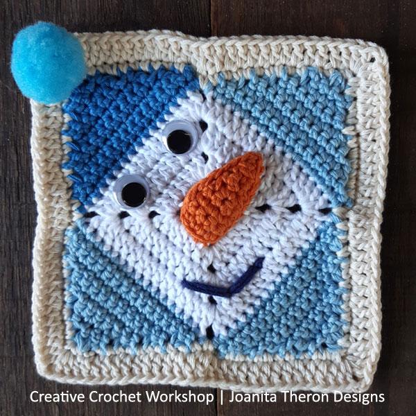 Delightful Snowman Crochet Square - Free Crochet Pattern | Creative Crochet Workshop #freecrochetpattern #crochet #crochetgifts #Christmascrochet @creativecrochetworkshop #2020crochetgiftalong