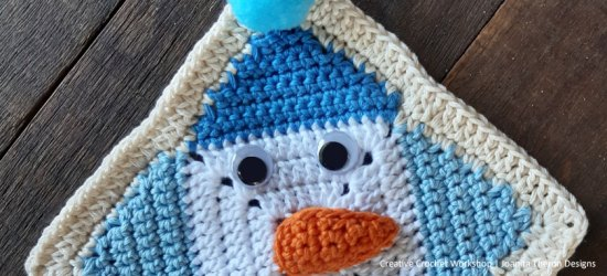 Delightful Snowman Crochet Square - Free Crochet Pattern | Creative Crochet Workshop #freecrochetpattern #crochet #crochetgifts #Christmascrochet @creativecrochetworkshop #2020crochetgiftalong