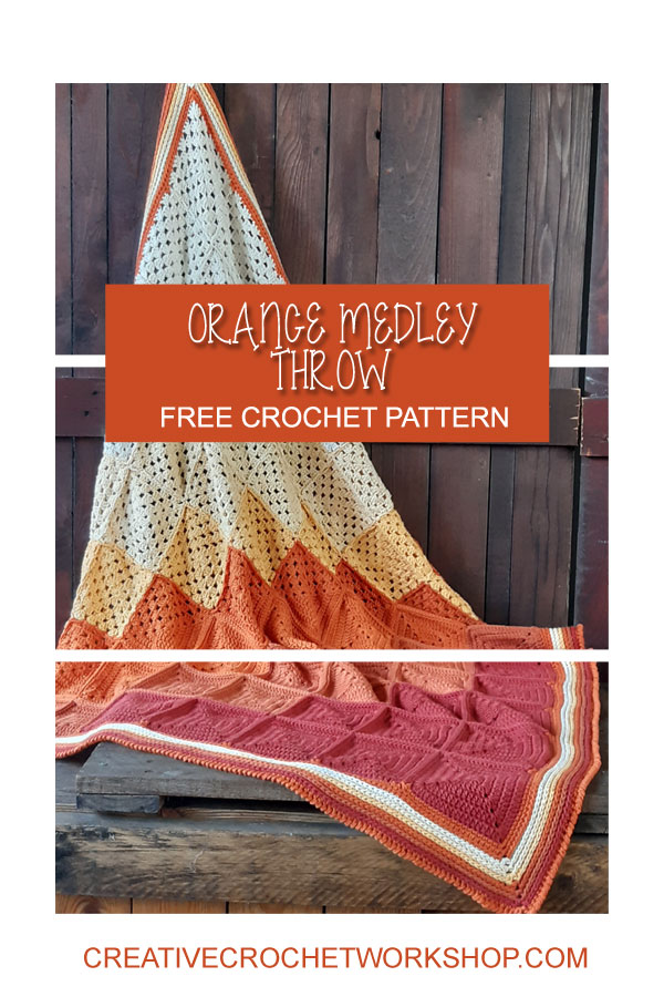 Orange Medley Crochet Throw Joining - Free Crochet Pattern | Creative Crochet Workshop @creativecrochetworkshop #freecrochetpattern #crochetthrow #crochetblanket #crochetsquares #crochetpattern #ccworangemedleythrow #crochetgrannysquare