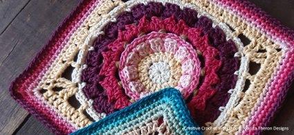 Doria Blossom Crochet Square - Crochet A Block 2021   Creative Crochet Workshop @creativecrochetworkshop #crochetsquare #freecrochetalong #crochetblanket #crochetthrow #ccwcrochetablock2021