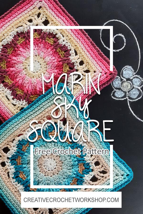 Marin Sky Crochet Square - Crochet A Block 2021   Creative Crochet Workshop @creativecrochetworkshop #crochetsquare #freecrochetalong #crochetblanket #crochetthrow #ccwcrochetablock2021