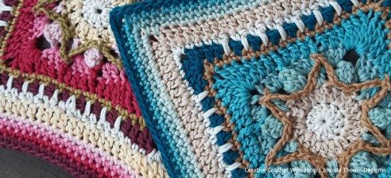 Popcorn Star Crochet Square - Crochet A Block 2021 | Creative Crochet Workshop @creativecrochetworkshop #crochetsquare #freecrochetalong #crochetblanket #crochetthrow #ccwcrochetablock2021