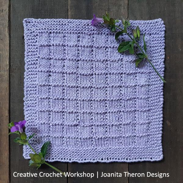 Knitted Lilac Tile Stitch Square - Free Knit Pattern | Creative Crochet Workshop #freeknitpattern #knit #knitaccessory #knitted #KALCorner @creativecrochetworkshop