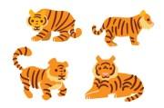 tiger design set svg cut file