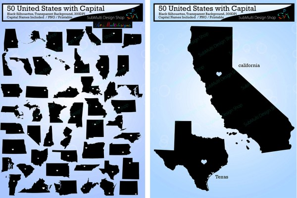50 States US map with capitals Graphic by Arcs