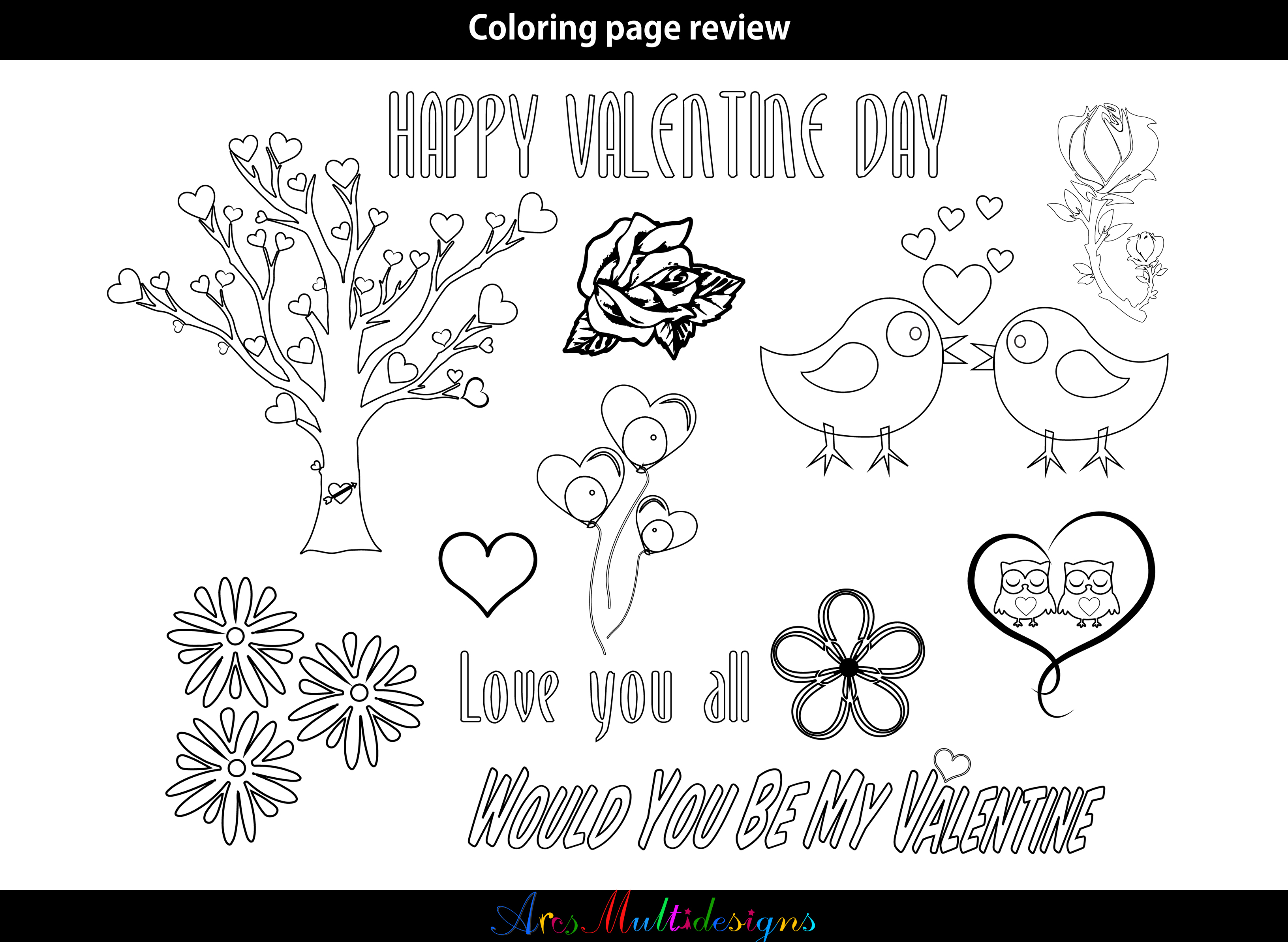 Valentine Coloring Pages SVG Graphic by Arcs Multidesigns