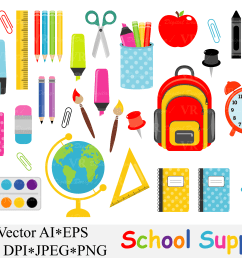 school supplies clipart back to school vector graphics [ 4833 x 3217 Pixel ]