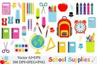 School Supplies Clipart, Back to School - Vector Graphic ...
