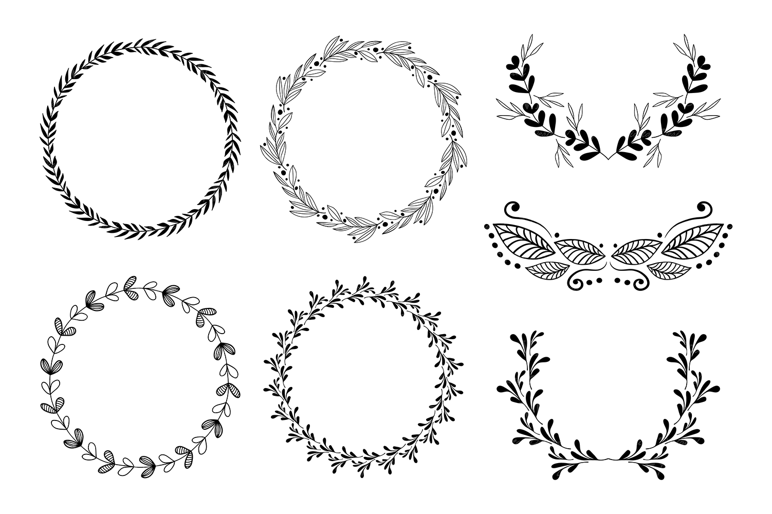 hight resolution of wreaths clipart hand drawn black design elements digital wreath laurels leaves and branches wedding clipart vector