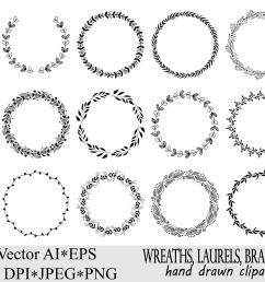 wreaths clipart hand drawn black design elements digital wreath laurels leaves and branches wedding clipart vector [ 1502 x 1000 Pixel ]