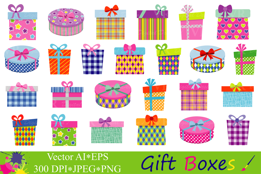 medium resolution of gift boxes clipart birthday party presents clip art gifts vector graphics present illustrations graphic by vr digital design creative fabrica