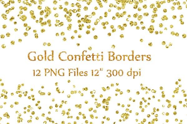 gold confetti borders clipart glitter