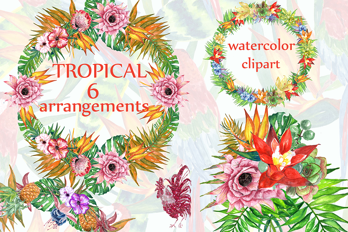 hight resolution of tropic watercolor clipart tropical flowers tropical wreaths flower bouquets summer clipart graphic by lecoqdesign creative fabrica