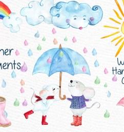 watercolor weather clipart sun clipart clouds clipart rain clipart graphic by vivastarkids creative fabrica [ 1160 x 772 Pixel ]