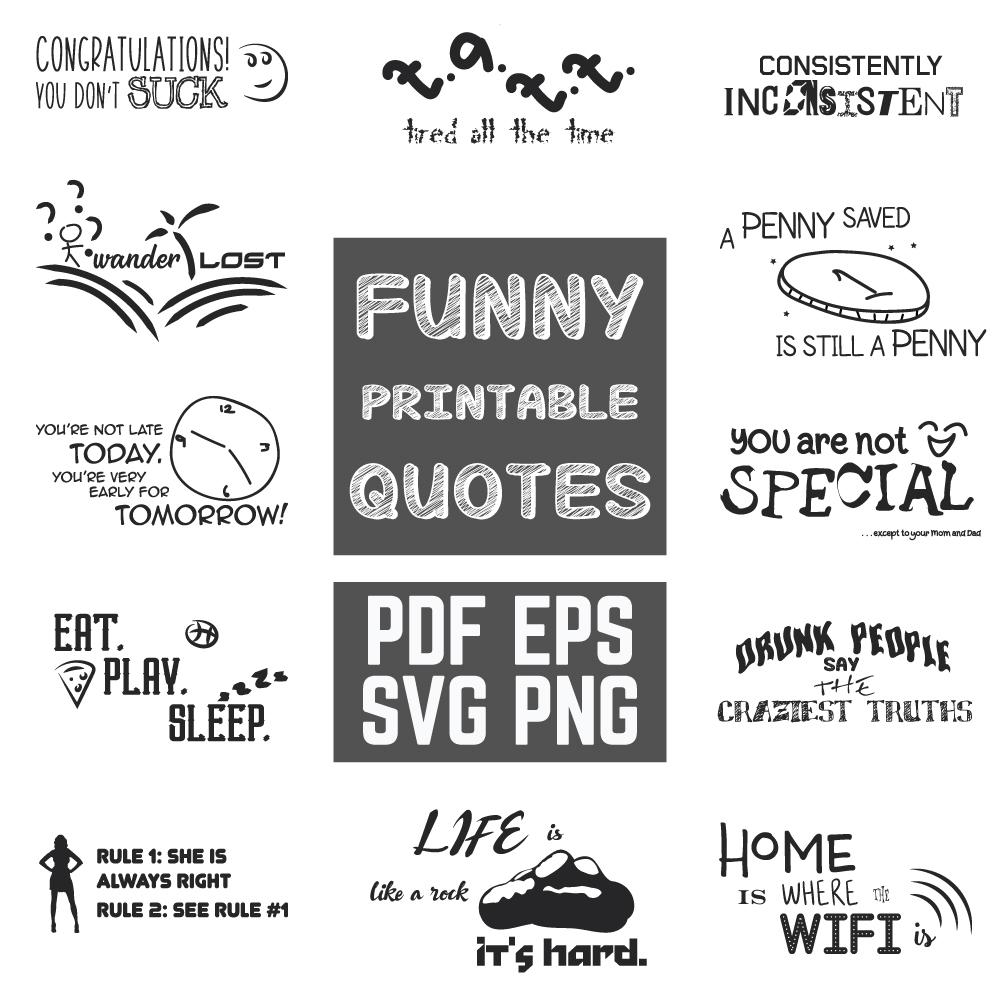 Funny Quotes Bundle Graphic by yumiguelgfxartshop
