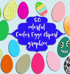 50 colorful easter eggs clipart easter graphic by happy printables club creative fabrica [ 1500 x 1000 Pixel ]