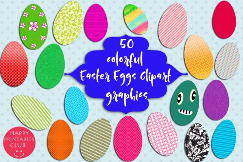 small resolution of 50 colorful easter eggs clipart easter graphic by happy printables club creative fabrica