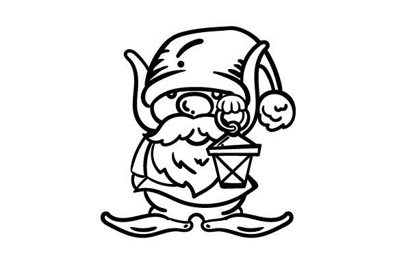 Garden Gnome Line Art Drawing SVG Cut file by Creative
